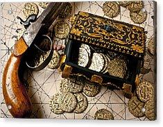 Treasure Box With Old Pistol Acrylic Print