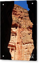 Acrylic Print featuring the photograph Treasury At Petra In Jordan by Eva Kaufman