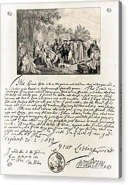 Treaty Between William Penn Acrylic Print by Photo Researchers