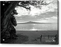 Tree And Ocean And Bench And Volcano Acrylic Print