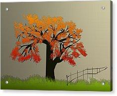 Tree In Seasons - 4 Acrylic Print by Asok Mukhopadhyay