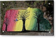 Tree With Lovebirds Acrylic Print by Monika Shepherdson