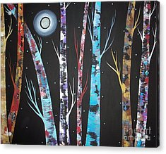 Trees And Moon Acrylic Print by Karla Gerard