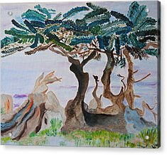 Acrylic Print featuring the painting Trees By The Sea by Meryl Goudey