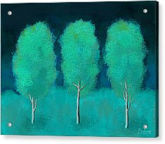 Trees In Triplicate Moonlit Winter Acrylic Print