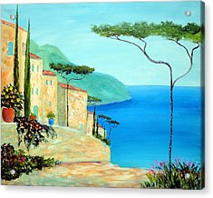 Acrylic Print featuring the painting Trees Of The Mediterranean by Larry Cirigliano