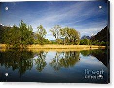 Trees Reflections On The Lake Acrylic Print