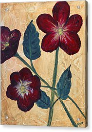 Tres Fleurs Acrylic Print by Maureen House