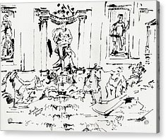 Trevi Fountain Rome Italy Ink Drawing By Ginette Acrylic Print by Ginette Callaway