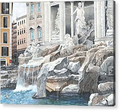 Acrylic Print featuring the painting Trevi Fountain Rome by Stuart B Yaeger