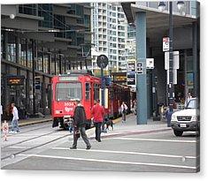 Trolley In San Diego Acrylic Print by Val Oconnor