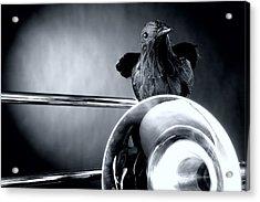 Trombone And Crow Bird Acrylic Print by M K  Miller