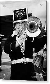 trombone player of the band of HM Royal Marines Scotland at Armed Forces Day 2010 Acrylic Print by Joe Fox