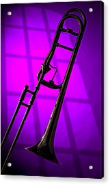 Trombone Silhouette On Purple Acrylic Print by M K  Miller