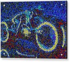 Tron Light Cycle Skittles Mosaic Acrylic Print by Paul Van Scott
