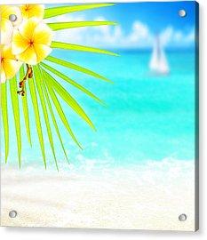 Tropical Beach Border Acrylic Print by Anna Om
