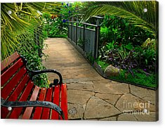 Tropical Garden Pathway Acrylic Print by Elaine Manley