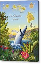Tropical Hawaiian Island Map Acrylic Print by Anne Wertheim