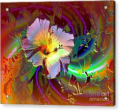 Tropical Hibiscus Explosion Acrylic Print by Doris Wood