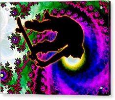 Tropical Hurricane Eye With Skateboarder Acrylic Print by Elaine Plesser