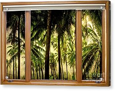 Tropical Jungle Paradise Window Scenic View Acrylic Print by James BO  Insogna