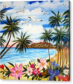 Acrylic Print featuring the painting Tropical Paradise by Roberto Gagliardi