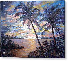Acrylic Print featuring the painting Tropical Sunset by Lou Ann Bagnall