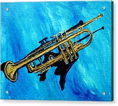Acrylic Print featuring the painting Trumpet by Amanda Dinan