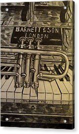 Trumpet On Piano Acrylic Print