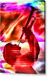 Trumpet Player Acrylic Print by David Ridley