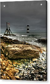 Trwyn Du Lighthouse Acrylic Print by Adrian Evans