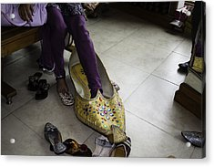 Trying On A Very Large Decorated Shoe Acrylic Print by Ashish Agarwal