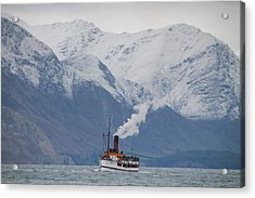 Tss Earnslaw Steamboat Against The Southern Alps Acrylic Print