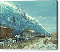 Tsunami Acrylic Print by Chris Butler and Photo Researchers