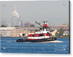 Tugboat Captain D In Newark Bay I Acrylic Print by Clarence Holmes