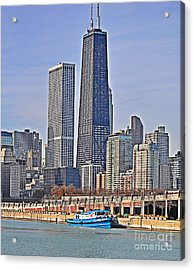 Tugboat On The Chicago River Acrylic Print by Mary Machare