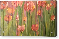 Acrylic Print featuring the painting Tulip Field by Kathy Sheeran