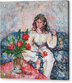 Tulip Girl Acrylic Print by Elena Irving