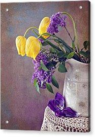 Tulips And Lilac Still Life Acrylic Print by Cheryl Davis