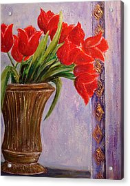 Tulips In Vase Acrylic Print