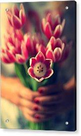 Tulips In Woman Hands Acrylic Print by Photo by Ira Heuvelman-Dobrolyubova
