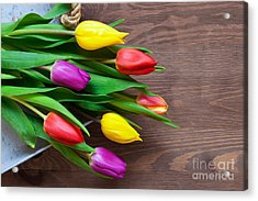 Tulips On The Table Acrylic Print by Richard Thomas