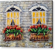 Tulips On The Wall Acrylic Print