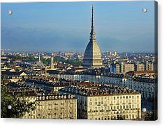 Turin, Cityscape With The Mole Antonelliana Acrylic Print by Bruno Morandi