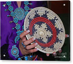 Turquoise And Navajo Wedding Basket Acrylic Print by Anne Gordon