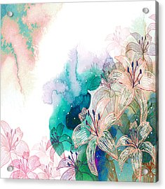 Turquoise Lilies Acrylic Print by Carly Ralph
