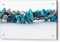 Turquoise Stones And Silver Chain Acrylic Print by Blink Images