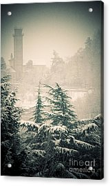 Turret In Snow Acrylic Print by Silvia Ganora