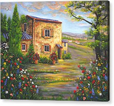 Tuscany Farmhouse Acrylic Print by Connie Tom