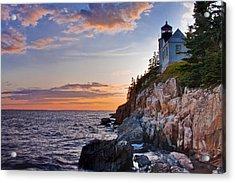 Twilight At The Bass Harbor Head Light  Acrylic Print by Jim Neumann